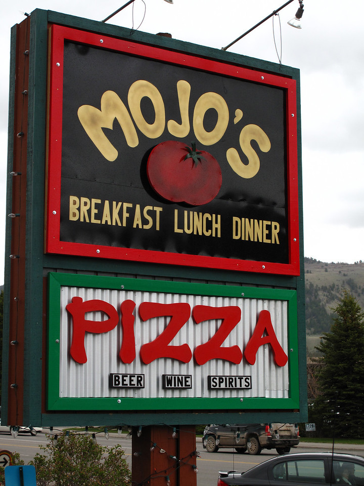 "MOJO""S restaurant in Jackson Hole Wyoming. The upper sign is 6' X 4' and the lower one is 6' X 2.5'. I designed and manufactured both of them. And there is the other side to it as well... so both signs twice..."