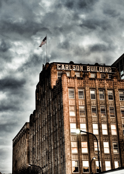 The Carlson Building in Evanston using 3 different photos