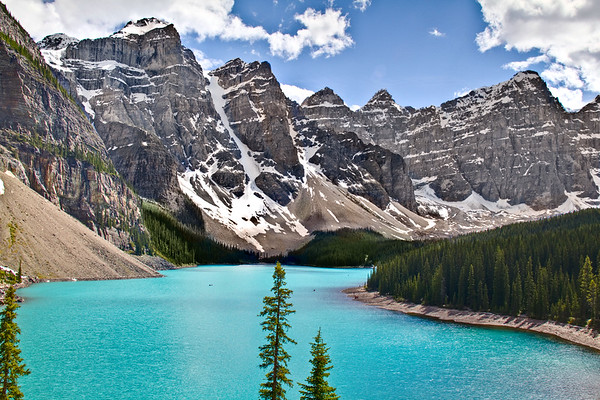 A sunny day at Moraine Lake in Banff National Park.