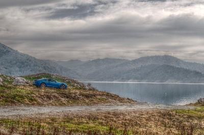 """Blue"" parked overlooking Pine Flat Lake - January 2011"