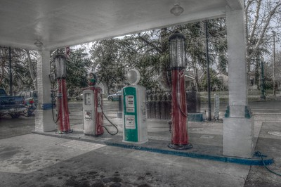 Old gas station pumps at Van Ness Auto Repair - Princeton & Van Ness - Fresno, California
