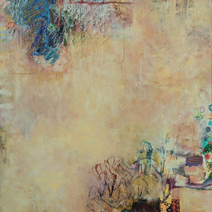 """Stone Secrets, no.2""; oil and collage on canvas; 46"" x 46"" (116.84 cm x 116.84 cm)"