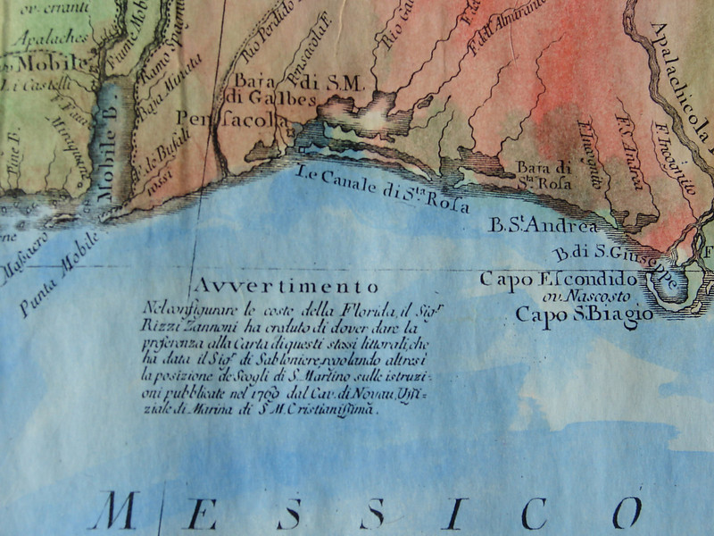 Detail Mobile Bay<br /> Golfo del Messico 1698<br /> Map Size:  13 x 18 inches <br />  Entire Map Shown<br /> <br /> From the Arkansas River to the Gulf of Mexico (includes the Arkansas Post) and EAST to the northern coast of Florida. This ITALIAN map is one of our most detailed and most beautiful maps. <br /> <br /> TO ORDER OR INQUIRE, please phone 888-255-7726   <br /> Hand Painted:   $196.00    <br /> Limited Edition Print  $46.00