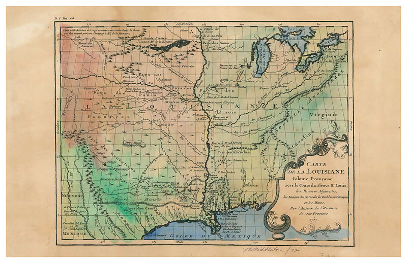 "Carte de La Louisianne <br /> French Map of the Missouri River<br /> <br /> 1757 from the Appalachians to the Rockies, North to St. Paul, the entire Mississippi. Notes French colonies, Indian nations and towns, Mines, the River St. Louis (Mississippi River) and adjacent rivers. From the ""Saute de St. Antoine"" (Minneapolis) to the Gulf. Very detailed for much of the Missouri River and western regions. Mouth of the Mississippi is marked as ""unknown"". <br /> <br /> Map size  13""x18""<br /> <br /> Hand Painted Carte de La Louisianne<br /> Price: $156.00<br /> Limited Edition Print.. . $56.00<br /> <br /> To ORDER OR INQUIRE, phone 888-255-7726"
