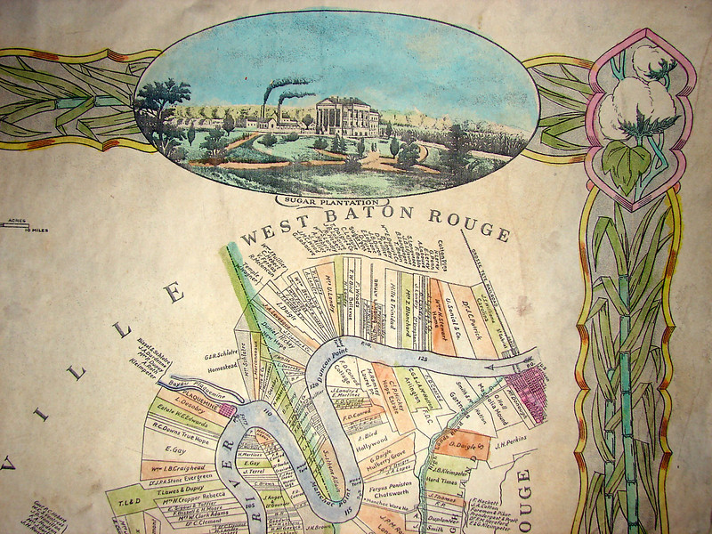 """Corner detail of 1858 Plantation Map   <br /> WEST BATON ROUGE.<br /> <br /> Each of our 1858 Plantation maps includes exquisite detail.<br /> call 888-255-7726 to ORDER or INQUIRE.<br /> <br /> 36x56""""  is $300. <br /> <br /> Map details are also available in 5x7"""" NOTE CARD format.  $4.95 each."""