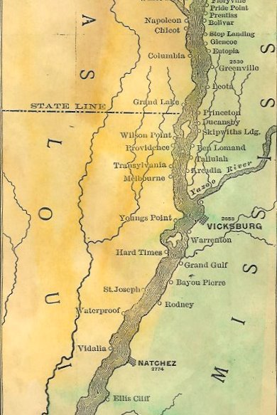 """Detail of the 1887 Glazier Ribbon Map of the Mississippi River. Any portion of the 1887 Ribbon Map is available as a detail in Note Card format.<br /> <br /> To read MORE about Mississippi River ribbon maps, visit <a href=""""http://www.greatriver.com/oldmaps/ribbonmaps.htm"""">http://www.greatriver.com/oldmaps/ribbonmaps.htm</a>"""