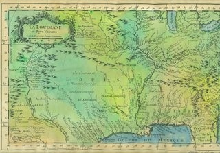 CARTE DE LA LOUISIANNE with logo on the Northwest. One of our most detailed FRENCH maps, about 1750.<br /> Original hand-painted reproduction is $120<br /> Also available as limited edition print, $58<br /> <br /> Phone 888-255-7726 to order or inquire.