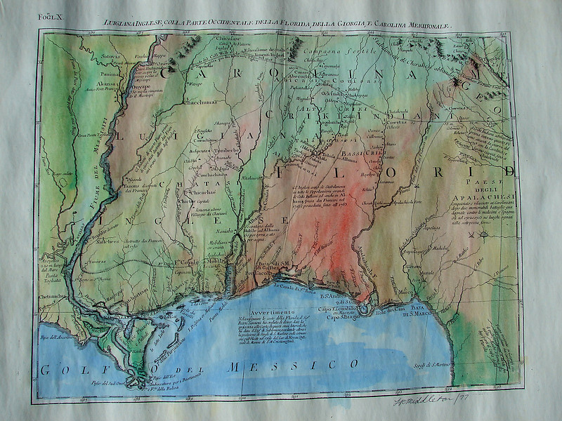 Golfo del Messico 1698<br /> Map Size:  13 x 18 inches <br />  Entire Map Shown<br /> <br /> From the Arkansas River to the Gulf of Mexico (includes the Arkansas Post) and EAST to the northern coast of Florida. This ITALIAN map is one of our most detailed and most beautiful maps. <br /> <br /> TO ORDER OR INQUIRE, please phone 888-255-7726
