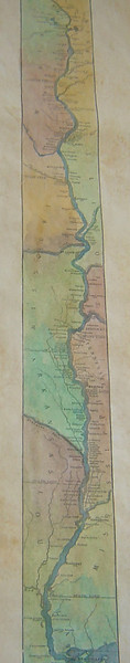 Hand-painted reproduction of the 1887 Ribbon Map, FATHER OF WATERS by Glazier (Vintage 329)