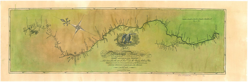 "Map of the Upper Mississippi River laid down from the notes of Lt. Zebulon Pike, 1805.  St. Louis to the Headwaters. The ROOT RIVER of Minnesota was already noted as such on this map.<br />  <br /> Beautiful Hand-painted Reproduction is nearly 36"" long.  $256<br /> Limited Edition Print, $156.<br /> <br /> We have one 10' long, hand-painted map that would be appropriate for display in an institution. Horizontal format. Call for pricing.<br /> <br /> Please phone 888-255-7726 to ORDER or INQUIRE."