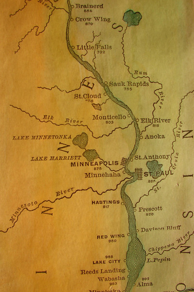 "DETAIL:  Brainerd to Alma, 1887<br /> <br /> Father of Waters:  1887 RIBBON MAP of the Entire Mississippi River <br /> by Willard Glazier, Headwaters to the Gulf<br /> <br /> 1887 Ribbon Map by Willard Glazier<br /> Limited Edition Color Print $15.99<br /> 4""x40""<br /> <br /> This reproduction of a rare Mississippi River ""ribbon map"" was drawn by Captain Willard Glazier to ""prove"" his premise that the True Source of the Mississippi was Lake Glazier rather than Lake Itasca. Looking for modern day towns on an old map? Many modern-day towns are included in this. It also contains many towns noted no longer appear on maps, like Waterproof...which wasn't!"