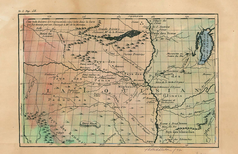 This CARTE DE LA LOUISIANNE has been cropped so as to feature the Northwestern corner of French La Louisianne. Good detail on the Missouri River valley and north. Indian villages, mountains, Kansas River, and more detail.<br /> <br /> Available only as a Limited Edition Print    $36<br /> <br /> Phone 888-255-7726 to order or inquire.