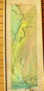 """Lt. Ross Map of the Course of the Mississippi <br /> from Fort du Chartres in opposite the Missouri River to the Gulf. Prepared in 1765. (portion shown) <br />     <br /> 17x44.5"""" Hand-colored reproduction   $250<br /> 14x36"""" Hand Colored reproduction  $156<br /> <br /> Lieutenant Ross' large scale map of the Mississippi is the largest format map of the Mississippi during the 18th Century, and the most detailed British Military Survey of the River. <br /> <br /> The map is based upon D'Anville's large map of 1746 and his Carte de la Louisiane published in 1752.   Shows Fort Chartes in the north, and Fort Kaskaskia. Adds substantial detail for southern portions of the map, including Pointe Coupee and Fort Rosalie.  <br />  <br /> PHONE 888-255-7726 to ORDER or INQUIRE."""