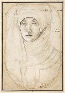 Cat. No. 51 / File Name: 3184-050.jpg Hans Holbein the Elder Portrait of a Woman, c. 1508 silverpoint, brush and black and brown ink, and black chalk heightened with white on white prepared paper overall (Oval): 14.4 x 10.3 cm (5 11/16 x 4 1/16 in.) National Gallery of Art, Washington, Woodner Collection