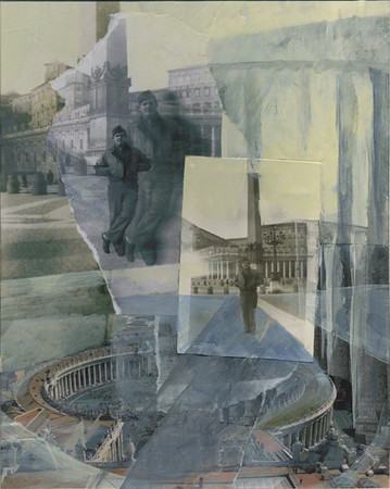St. Peter's Plaza 1944<br /> (From the Henry Desmond Series)<br /> Mixed Media Collage, 2009