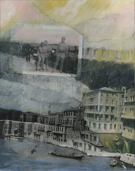 Among the Gondolas<br /> (From the Henry Desmond Series)<br /> Mixed Media Collage, 2009