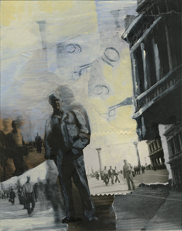 In Piccalo Piazza, San Marco-- Venice 1945<br /> (From the Henry Desmond Series)<br /> Mixed Media Collage, 2009