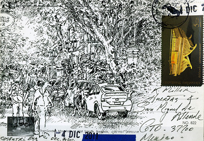 "Rambutri St., Bangkok<br /> pen and ink on envelope,<br /> 6"" by 4"""