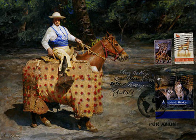 "El Picador, Mexico,<br /> Gouache on envelope, stamps, (official and faux)<br /> 10"" by 7"""