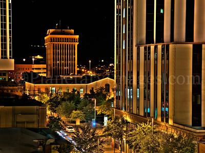 High dynamic range shot of Downtown Tucson at night.