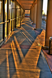 This Tucson strip mall reflects the golden late-day sunlight.