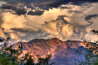 Dramatic sunset clouds seem to explode over the Catalina Mountains in Tucson.