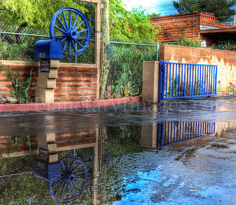 james palka, planetary images, driveway, rain, puddle, reflection, colorful, tucson, hdr