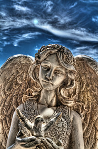 This St. Francis angel statue no longer exists, destroyed by a severe storm in July, 2011