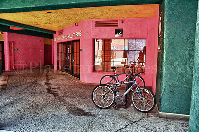 A bike rack in Tucson's colorful La Placita Village