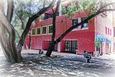 Finding some shade in sunny Tucson's La Placita Village plaza