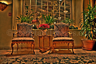 High dynamic range shot of lobby chairs.