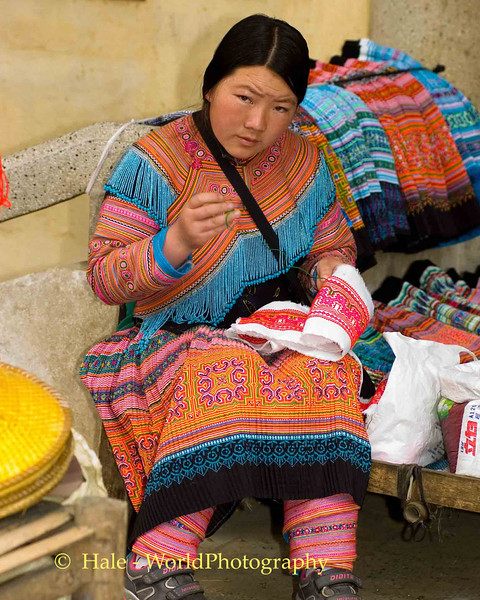 Hmong Hill Tribe Woman Busy with Needlepoint at Sapa, Vietnam Market