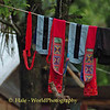 Akha Hill Tribe Needlepoint Articles of Clothing Drying on Line, Chiang Rai Thailand