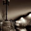late night photos of foggy downtown Asheville, North Carolina