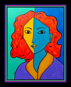 Homage to Matisse-Portrait of Lydia #3. 11x14, acrylic on canvas panel, july 2, 2017.