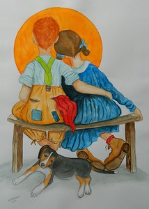 Puppy Love - Homage to Norman Rockwell, 12.75x18, watercolor, april 25, 2016.