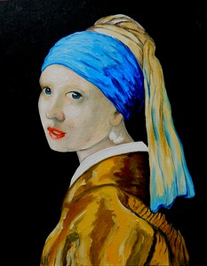 Homage to Vermeer - Girl With A Pearl Earring, 11x14, oil, july 13, 2016.