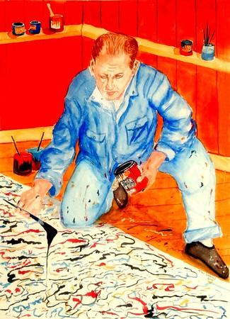 Pollock at Work, 11x15, goauche, feb 17, 2016