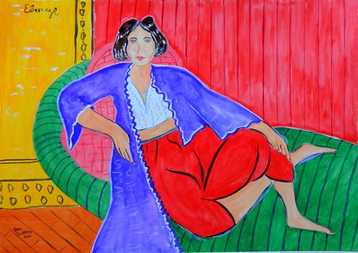 Matisse Odalisque, in the style of Elmyr de Hory, 16x22, gouache on paper, feb 11, 2016.