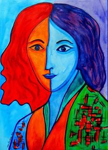 Homage to Matisse-Portrait of Lydia, 11x15, gouache, feb 23, 2016.