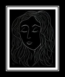 Homage to Matisse - Sleeper, 8x10, scratchboard, june 29, 2017