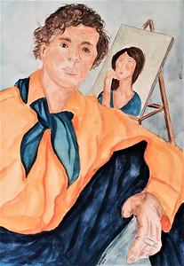 Amedeo Modigliani, 11x15, watercolor, mar 15, 2017.