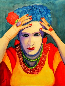 Frida, 11x15, gouache, feb 26, 2016.