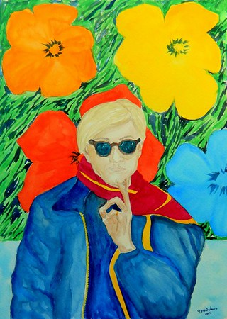Warhol With Flowers, 11x15, gouache watercolor, feb 18, 2016.