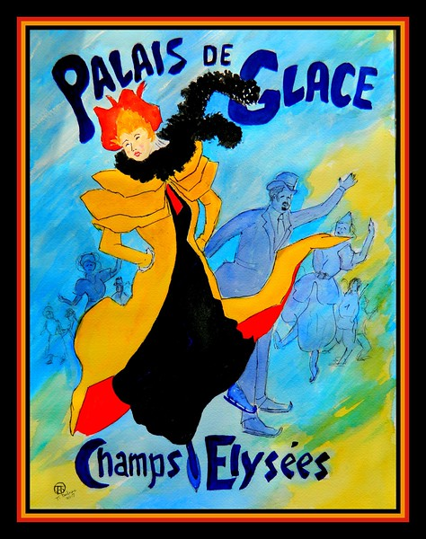 1-Homage to Jules Cheret - Palais de Glace, 1893 #2, 12x16, watercolor & ink, july 19, 2017 DSCN97571