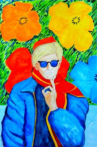 1 1-Warhol With Flowers II, 15x22, gouache, feb 24, 2016 DSCN0076