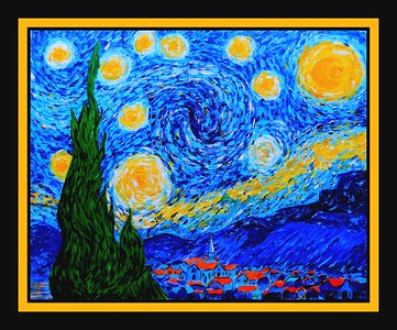 Homage to Van Gogh - Starry Night, 16x20, acrylic on canvas board, july 13, 2017.