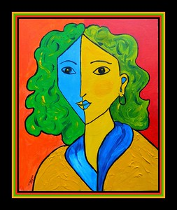 Homage to Matisse-Portrait of Lydia II. 11x14, acrylic on canvas panel, june 30, 2017.