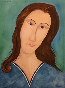 Jeanne Hebuterne, Homage to Amedeo Modigliani. 11x15, watercolor, jan 26, 2016.