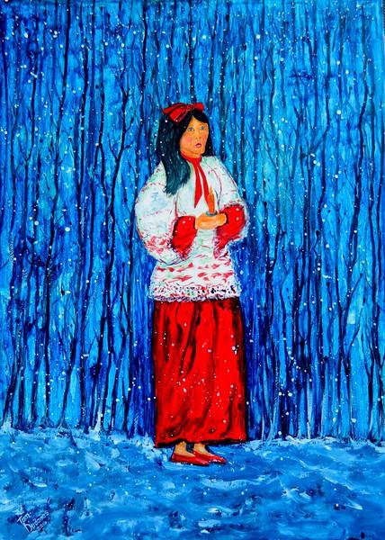 1-Chaim Soutain, Hark the Herald Angel Sings 17x24, gouache watercolor on board, april 20, 2016  DSCN0526